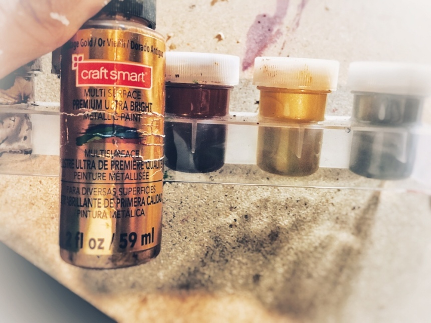 Vintage Gold Craftsmart Multisurface Premium Ultra bright Metallic paint 2 fl. oz 59 mL, vintage gold paint with warm undertone for vintage or steampunk inspired mixed media projects