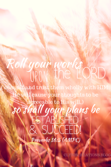 Roll your works upon the Lord [ commit and trust them wholly to Him; He will cause your thoughts to become agreeable to His will, and] so shall your plans be established and succeed. Proverbs 16:3