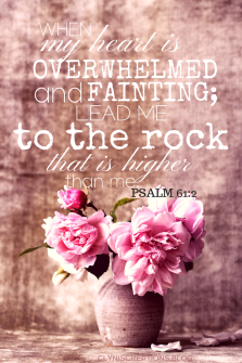 When my heart is overwhelmed and fainting. lead me to the rock that is higher than me. Psalm 61:2