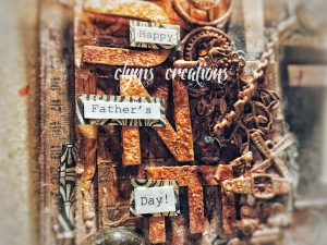 mixed media fathers day card, happy fathers day card with a vintage theme, amber, brown and vintage fathers day card