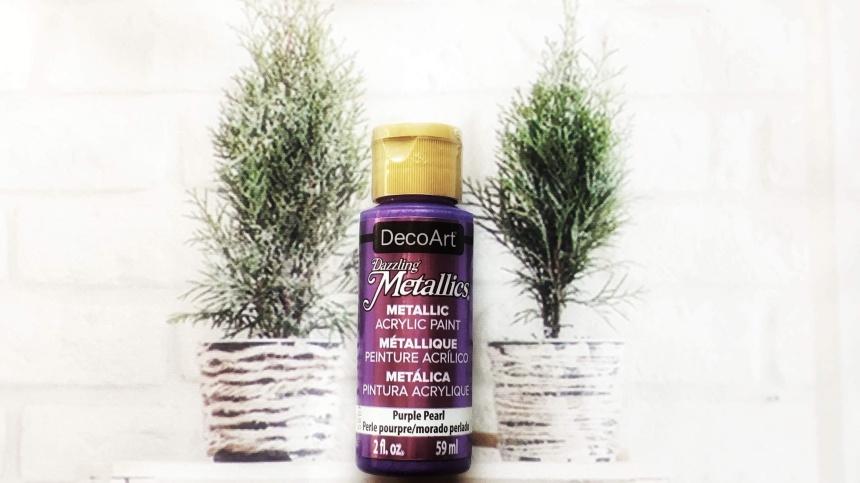DecoArt Dazzling Metallics Metallic Acrylic Paint Purple Pearl 2fl. oz. 59mL, Dollar store acrylic paint, Michaels acrylic paint