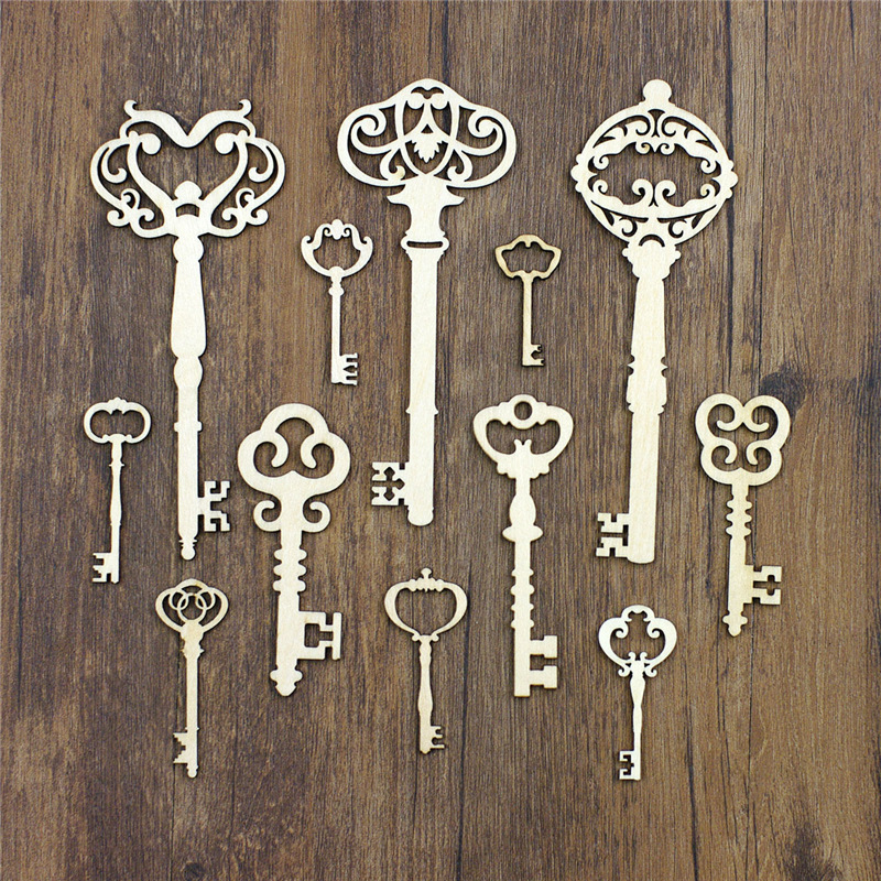 various vintage key designs for mixed media projects