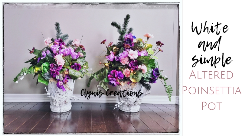 White mixed media art poinsettia pot, advent flower arrangement, simple and white DIY vintage pot, pink and purple flower arrangement, church flower arrangement idea