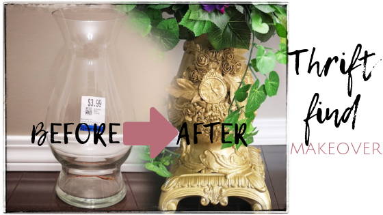Value village thrift store upcycling, upcycling a vase from the thrift store, gold vase, gold vintage vase with flower arrangement, vintage gold vase diy