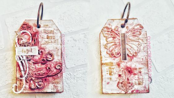 easy mixed media tag for art journaling, pink mixed media tag, vintage inspired mixed media tag, whimsical mixed media tag