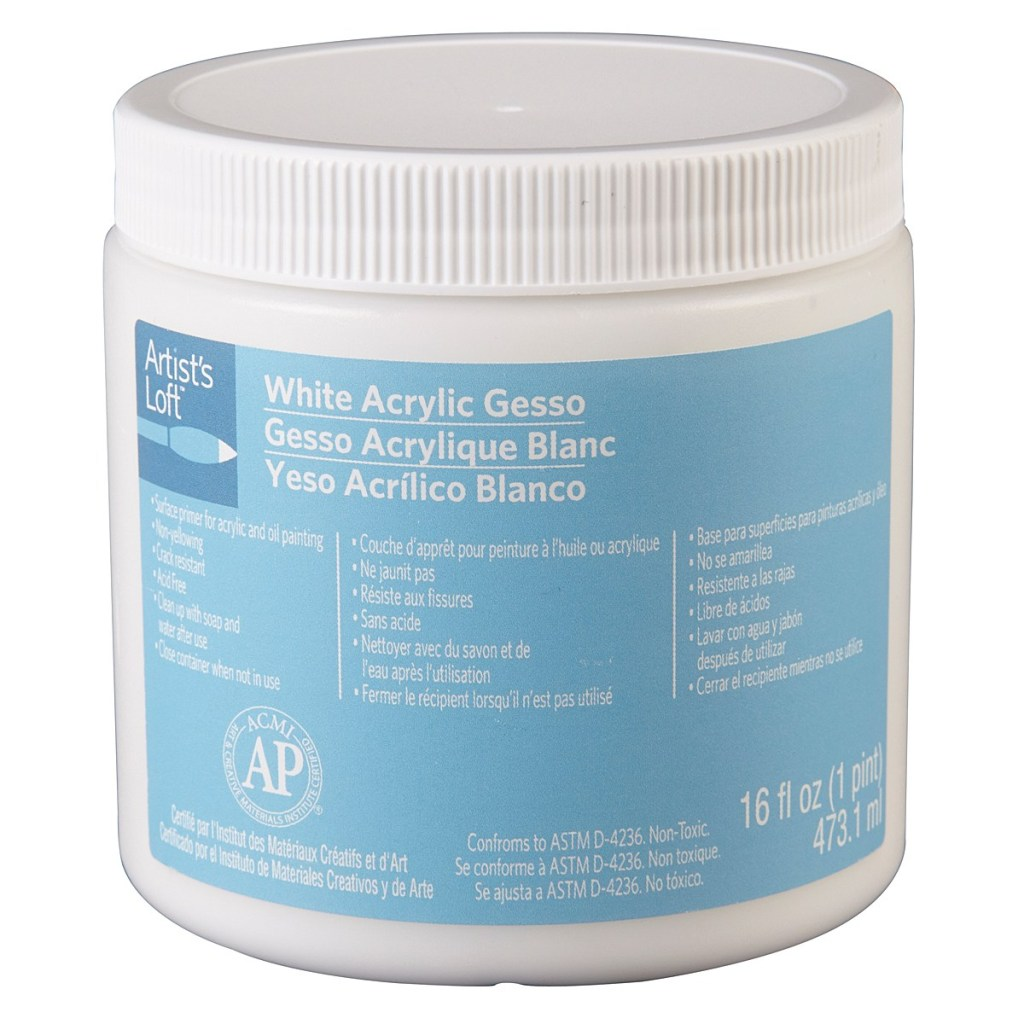 artists loft® white gesso 16 oz from michaels canada, mixed media project white primer, can be used on a variety of porous surfaces, including canvas, wood, panels or paper