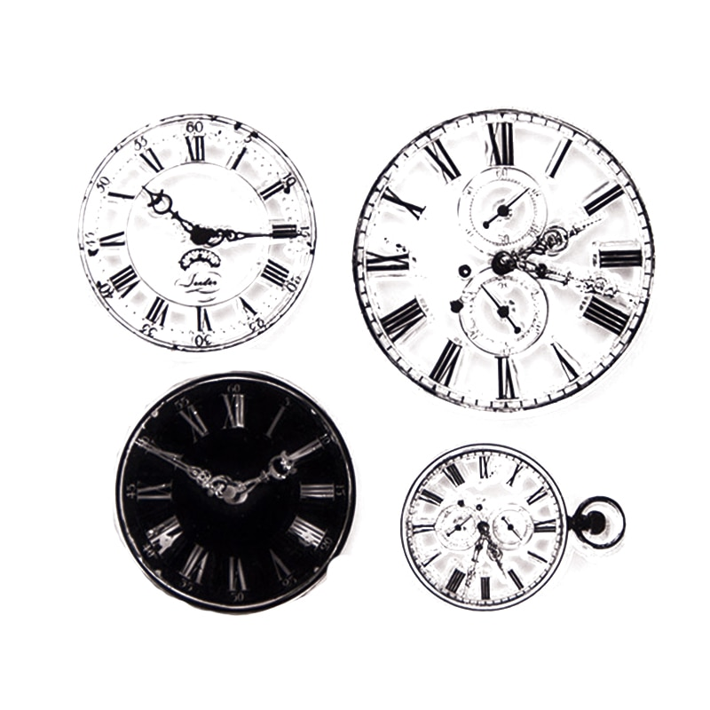 vintage Clocks Of Different Sizes Transparent Clear Silicone Stamps
