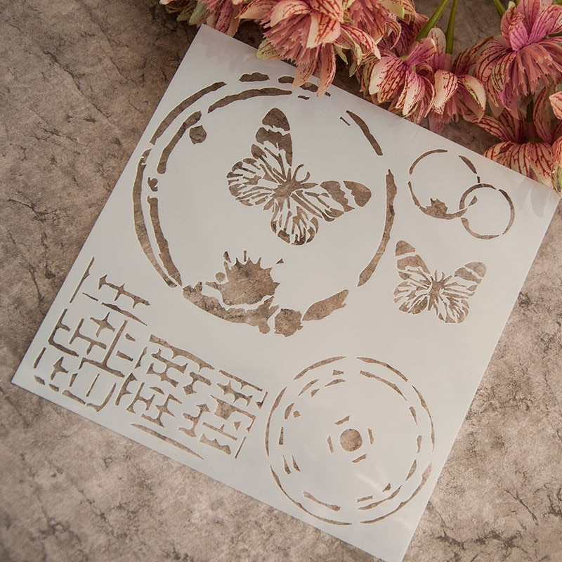 vintage butterfly stencil from AliExpress, where to buy cheaper materials for mixed media art