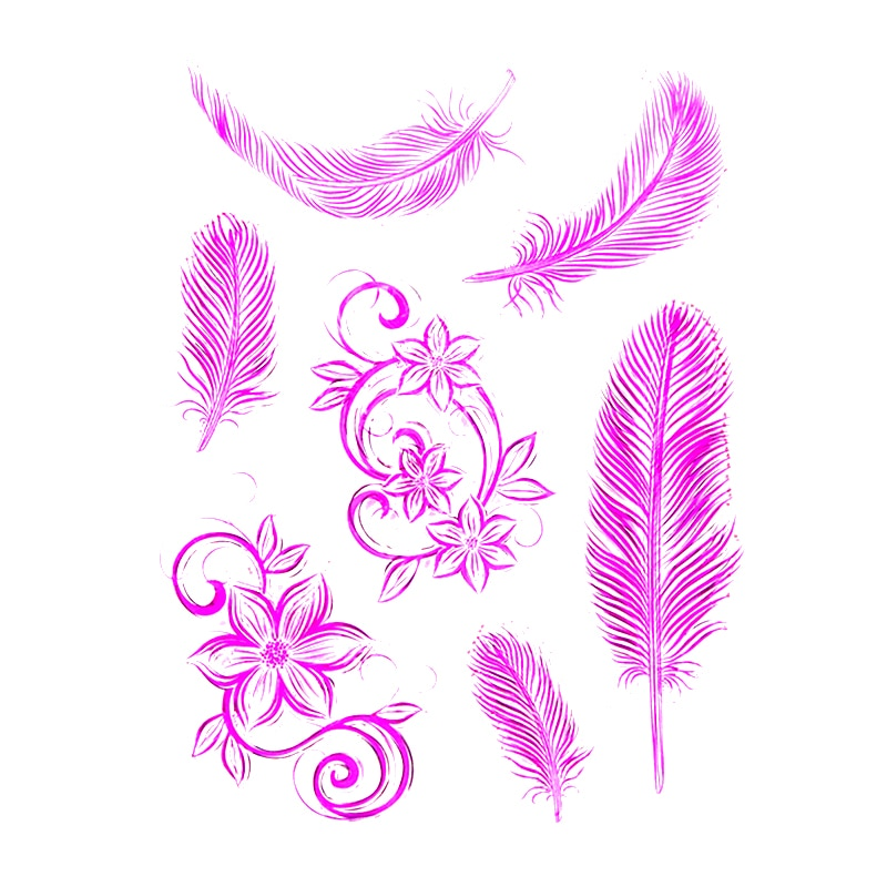 Feather Flower Rubber Clear Stamps, where to buy cheap silicone stamps, trusted seller