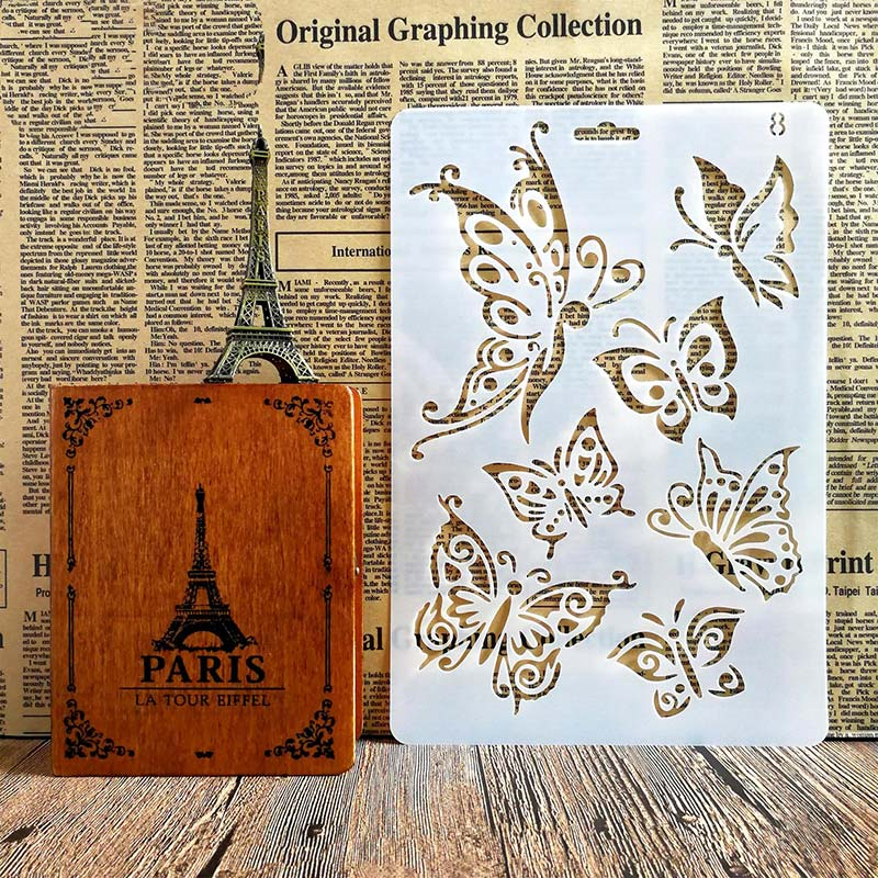 multiple sizes of butterflies stencil, where to buy cheap products for Mixed media art
