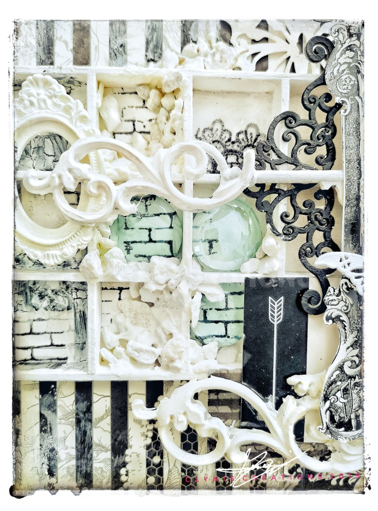Resin frame, mixed media layout, black and white mixed media layout, stamping, IOD mould