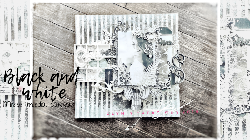 Black and white bridal mixed media canvas, black and white mixed media layout, wedding mixed media layout, wedding scrapbook layout