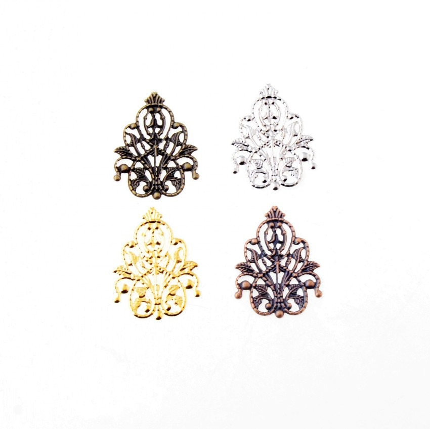 Free-shipping-30Pcs-Filigree-Wraps-Flower-Connectors-Metal-Crafts from AliExpress, where to buy metal vintage trinkets for mixed media projects