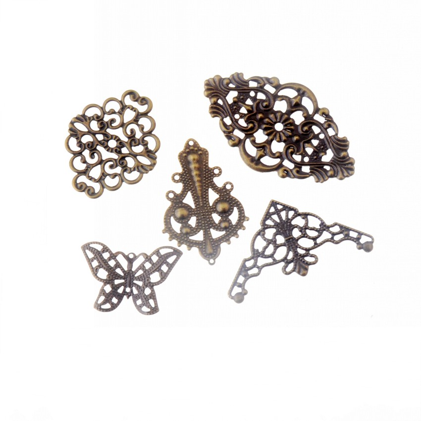 Free-shipping-10Pcs-Mixed-Bronze-Tone-Filigree-Wraps-Connectors-Metal-Crafts from AliExpress, where to buy cheaper corner page metal embellishment