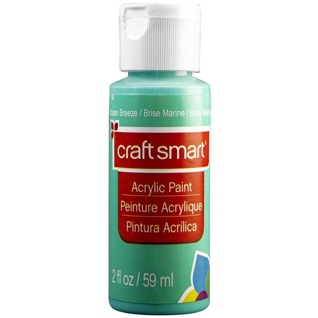 Teal or mint green acrylic paint for mixed media art projects using craftsmart
