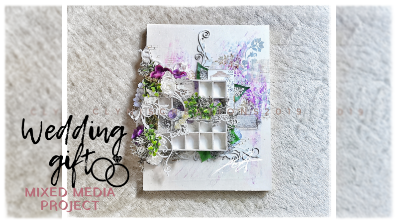 purple and silver wedding theme inspiration, purple, gray and green color combination, mixed media art using dollarama items, whimsical and vintage art, beginners mixed media art tutorial, how to make a unique wedding gift, create your own art background, how to break a blank page, 12x16 in mixed media wall art, art for gardeners and plant lovers