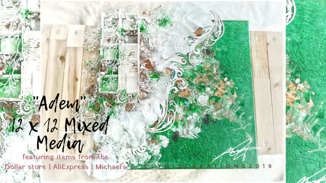 Mixed Media art tutorial for beginners, how to do mixed media art, 12 x 12 in mixed media canvas, emerald green wall art, green and brown wall art, white leaves wall art