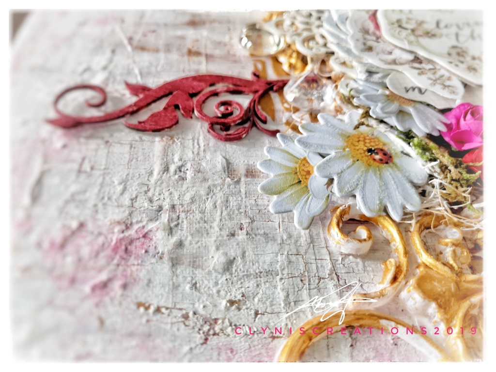 daisies, white flowers, 12 x 12 in canvas art, mixed media art tutorial, fuschia embellishments, vintage embellishments, abstract art, garden art, pretty pale collection prima marketing, the crafter's workshop grecian gold modeling paste, Prima IOD Moulds Tillden flourish