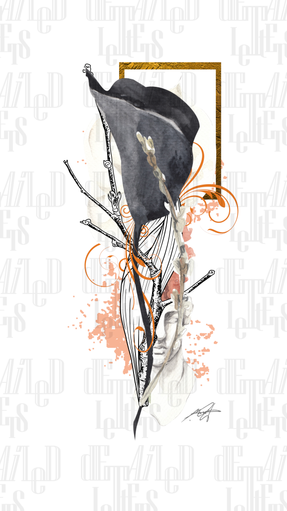 Orange and Black art, Gray, Stone, Art, Graphite, Black Tulip, Gold Frame, Black Flower, Face Sculpture, Art Print, Digital Art