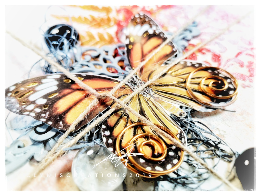 brown and orange butterfly art, Orange Brown Black Mixed Media Layout