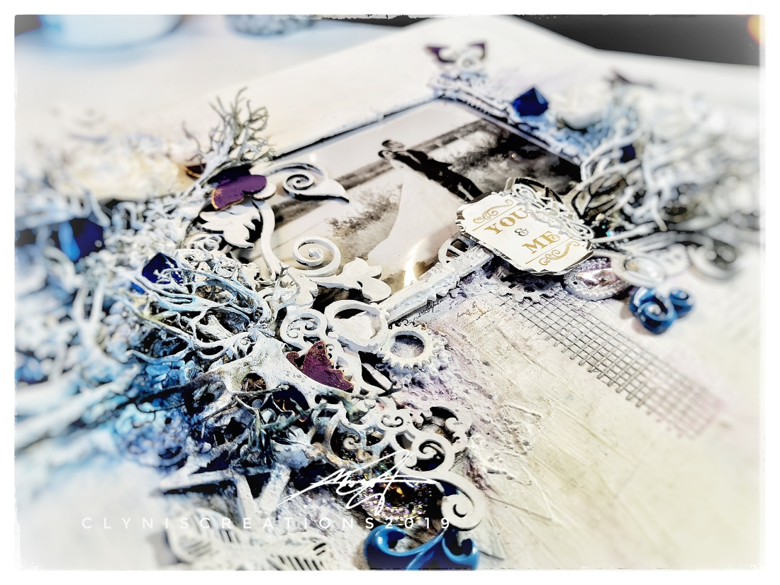 Black, White, Blue, Purple, Mixed Media Scrapbooking Art Process Cover, Finnabair, Patina Effect Paste, Wedding Photo Black and White, Grayscale Wedding Photo, AliExpress embellishments, Where to buy Mixed Media Materials, Rangers Texture Paste, Dollar Store Mixed Media, Thrifted Mixed Media