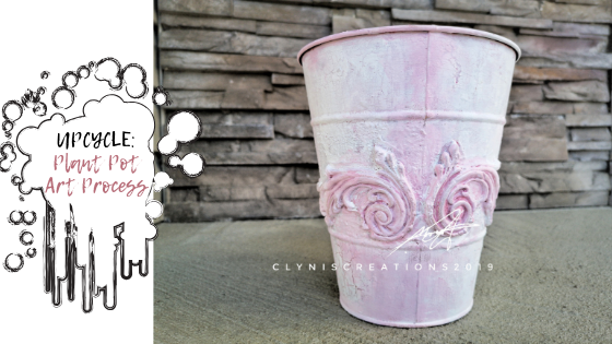poinsettia pot upcycling, plant pot upcycling, pink and white planter, Prima IOD Moulds, Craftsmart natural clay, how to unstick the clay from a clay mold