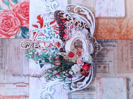 pink butterfly dollar store cardstock, Aliexpress botanical stickers, letter E mixed media art, Aliexpress wooden embellishment, dollar store white paper flowers