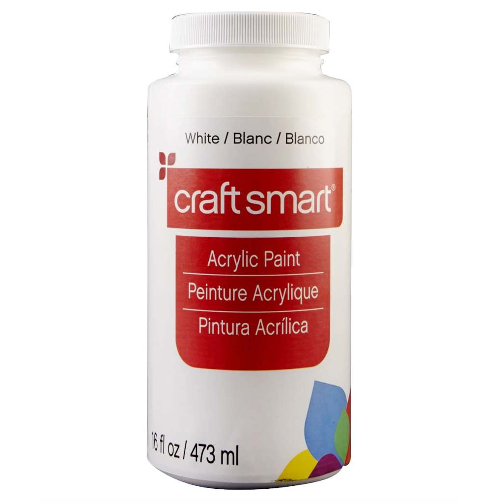 white acrylic paint from craft smart, Michaels, 16 oz acrylic paint
