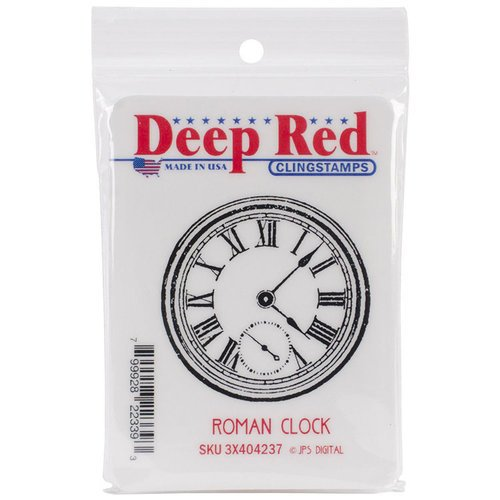 Deep Red Stamps - Cling Mounted Rubber Stamp - Roman Clock SKU 3X404237
