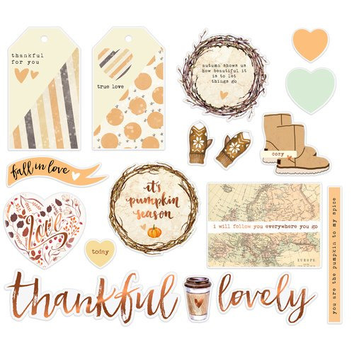 brown orange fall ephemera prima its pumpkin season fall in love thankful for you tag stickers with gold foil thankful lovely stickers