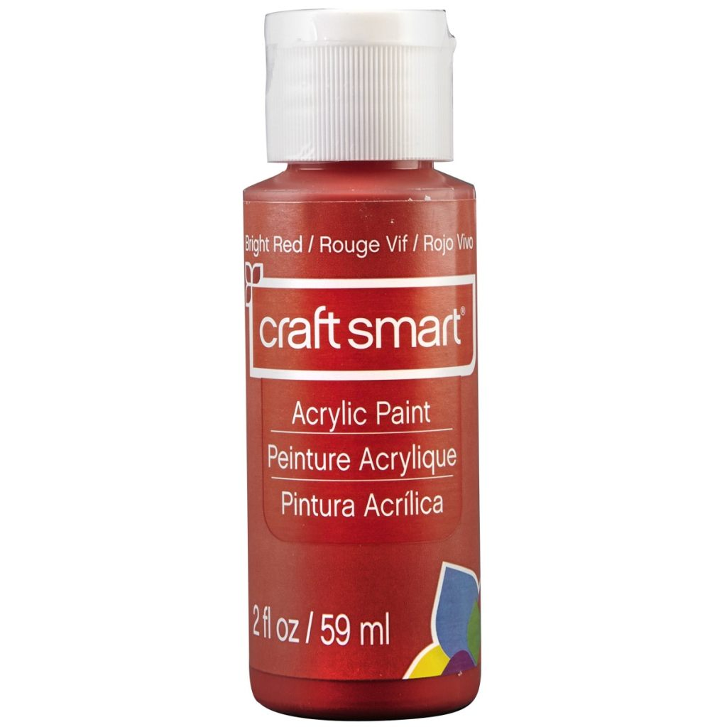 Bright Red, Rouge Vif, Rojo Vivo, craft smart Acrylic Paint, Peinture Acrylique, Pintura Acrilica, 2 fl oz/ 59 ml