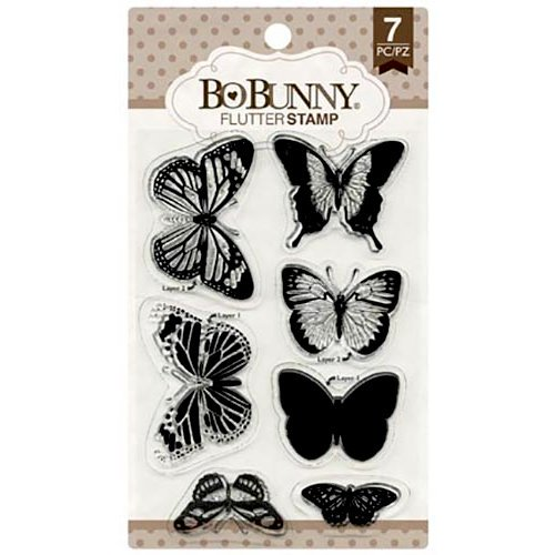 Bo Bunny Flutter Stamp 7 pcs, Theme Butterfly, Card Making, Gardening, Girl, Vintage, Butterfly Silicone Stamp
