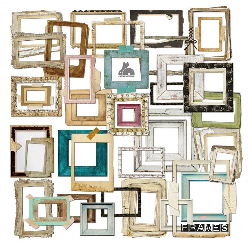 cut out paper frames for mixed media, scrapbooking, art journal, diary