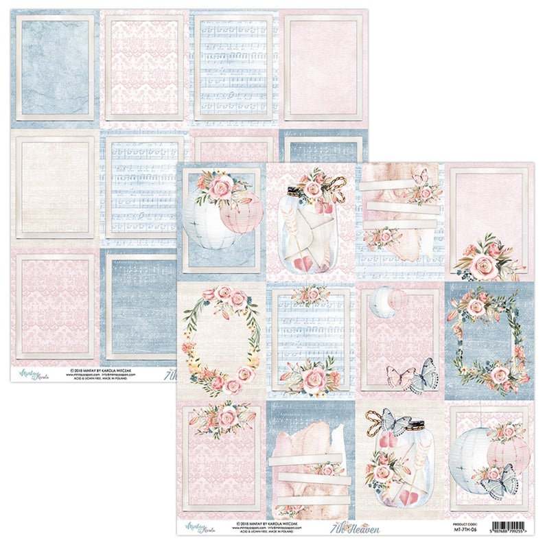 muted color blue jeans color 12 x 12 scrapbook paper, pastel or muted pink, butterflies, flowers